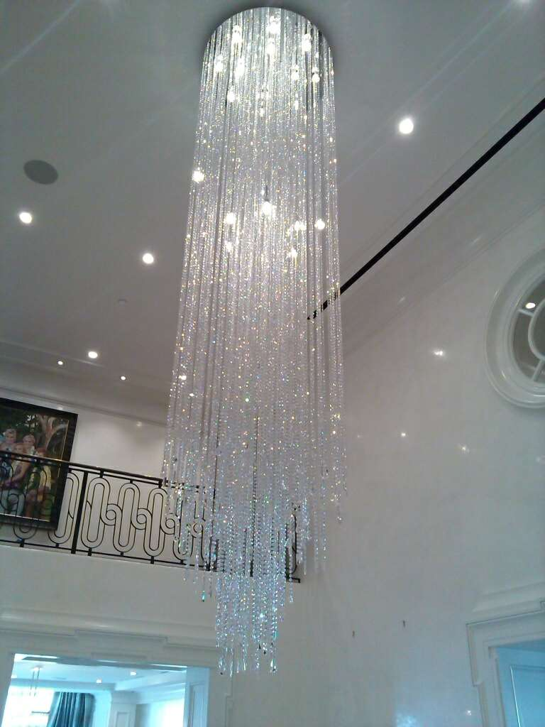 Types of light bulbs customized Divine Ice long foyer crystal ceiling light