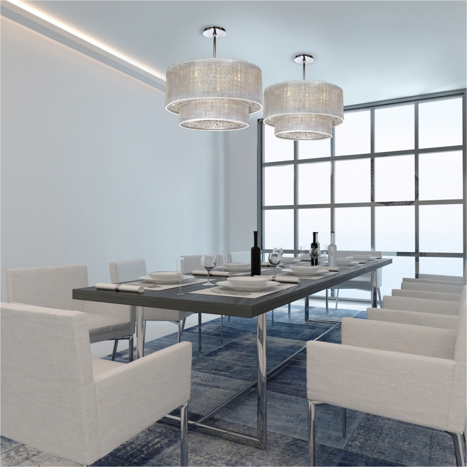 Drum shade chandeliers two Duet double white drum shade crystal chandeliers over dining table