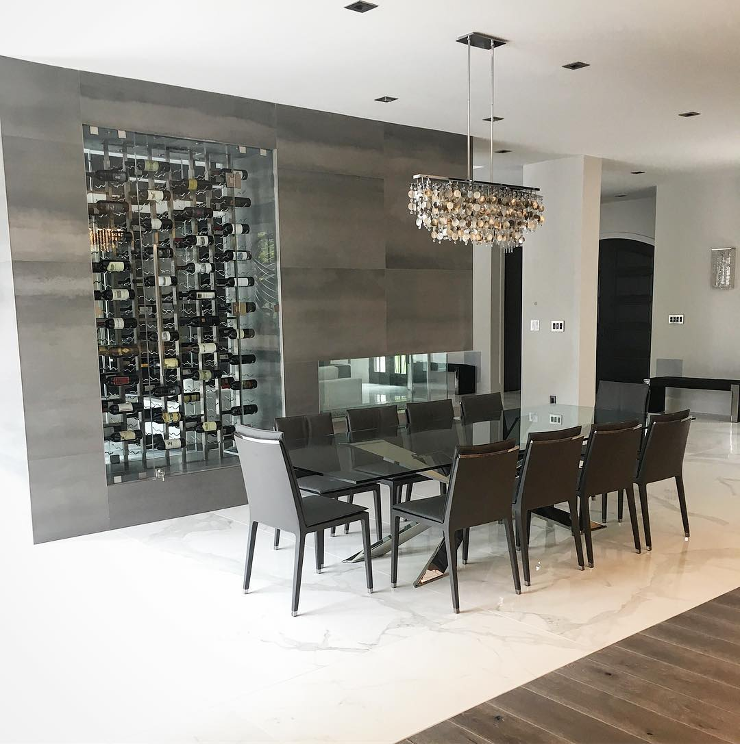 Modern lighting design ideas customized Midnight Pearl dark shell and crystal chandelier for Tamsin Design Group in modern dining room