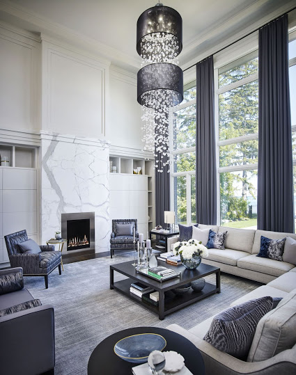 Crystal chandelier LED bulbs Silhouette crystal bead foyer chandelier with 2 black drum shades for Regina Sturrock Design