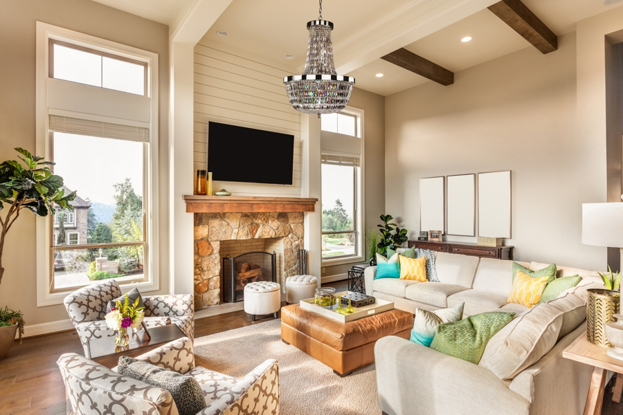 Traditional Living Room Chandeliers empire style Lucia crystal chandelier in casual living room