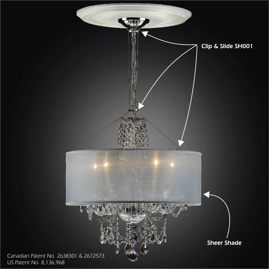 Traditional Maria Theresa Chandeliers Crystal Palace chandelier with drum shade and Clip & Slide attachment