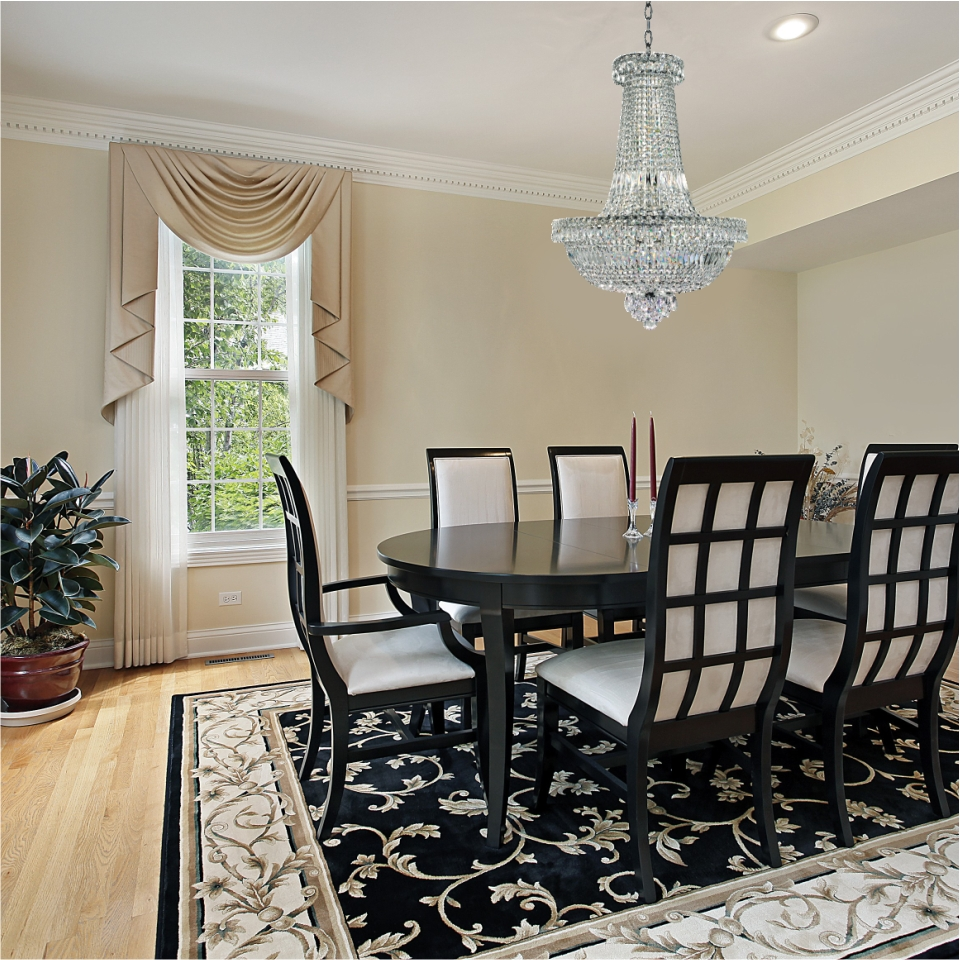 Empire crystal chandelier dining room setting with Windsor Royale crystal pendant chandelier