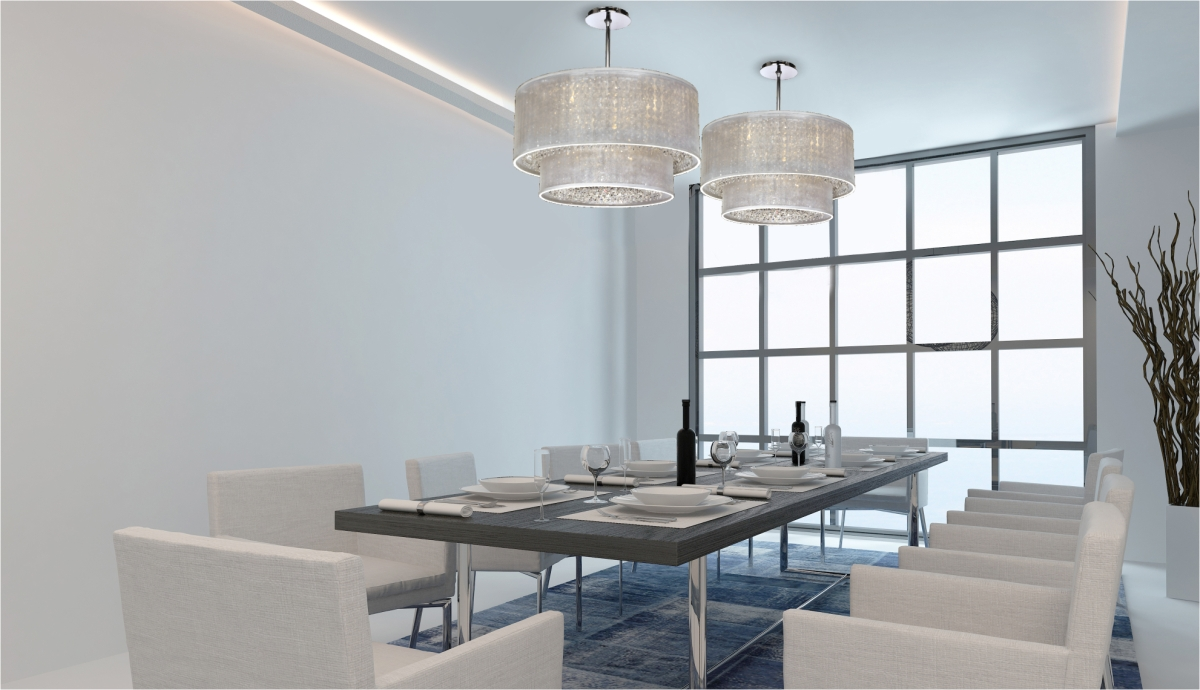 Semi flush ceiling lights Duets drum shade crystal pendant ceiling lights in modern dining room