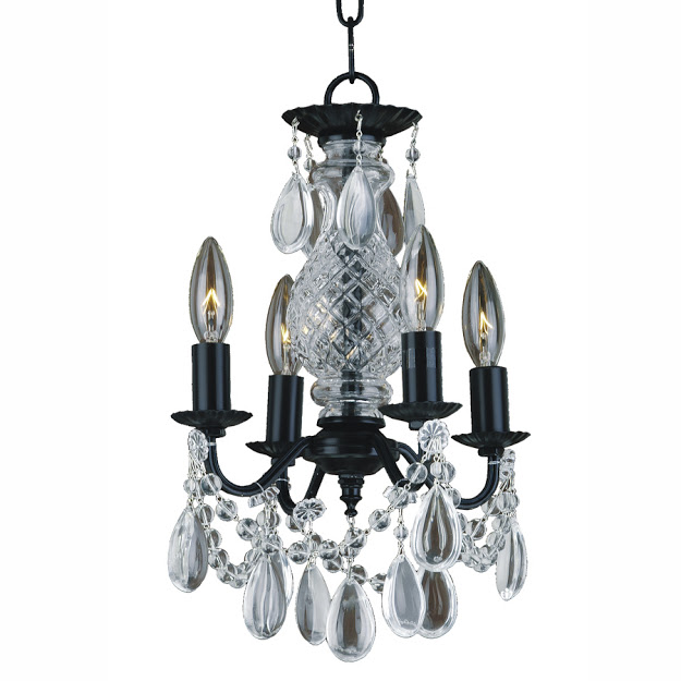 Ebony 580CD small black chandelier with smooth crystal