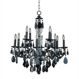 Ebony black iron and smooth black crystal dining room chandelier 580JD12LM!-7