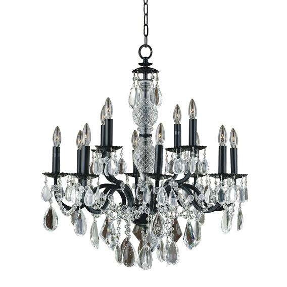 Ebony black iron and smooth clear crystal 12 light dining room chandelier 580CD12LMI-7