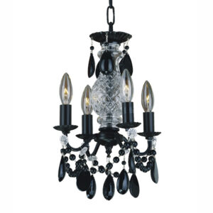 Ebony small black crystal and black iron chandelier 580JD5LMI-7J