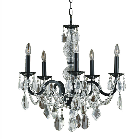 5 Light Black Iron Chandelier with clear Crystals