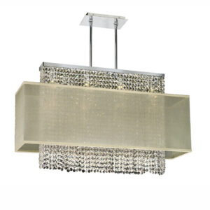 Metropolitan rectangular crystal chandelier with taupe rectangular shade