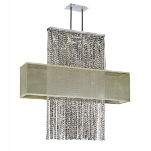 Metropolitan taupe shade long rectangular dual mount crystal pendant