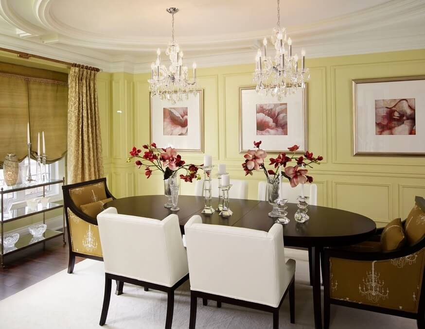 Dining room crystal chandeliers Regina Sturrock Designs. Two Maria Theresa dining room chandeliers.