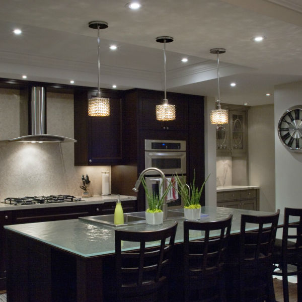 GU10 bulbs Fuzion X small two layer square color crystal chandeliers over kitchen island